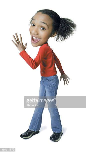 photo caricature of an african american teenage girl as she strikes a fun pose
