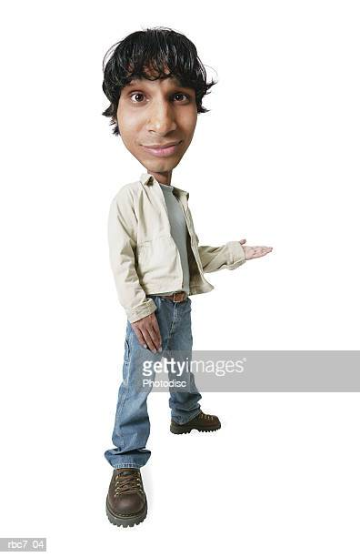photo caricature of an ethnic teenage male in jeans and a tan jacket as he gestures with his hand and smirks