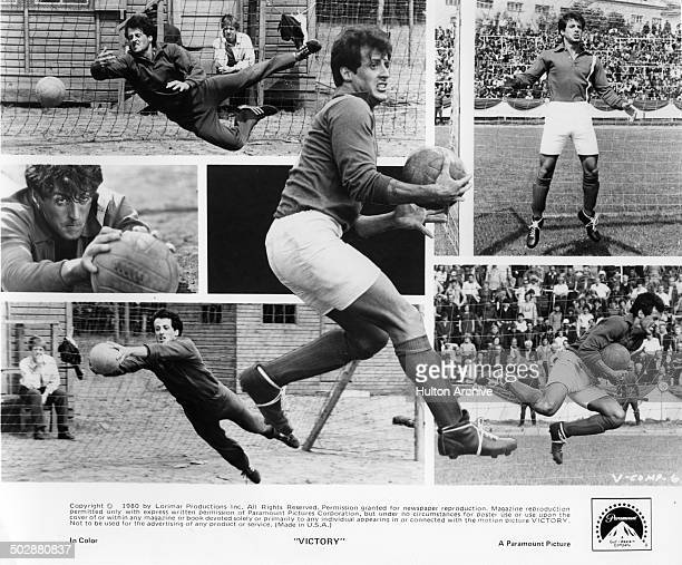 A photo collage of actor Sylvester Stallone as the goalie for the allied prisoner of war soccer team in the Paramount Pictures movie 'Victory' circa...