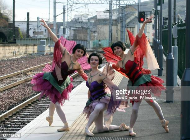 Photo Dancers Julle Charlelet Dreda Blow and Isabella Gasparini from the Northern Ballet dance beside a train at Waverley Station in Edinburgh to...