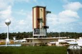 Photo datée de janvier 1976 du Centre Spatial Guyanais de Kourou en Guyane Picture taken in January 1976 of the Kourou base in French Guiana Ariane 1...