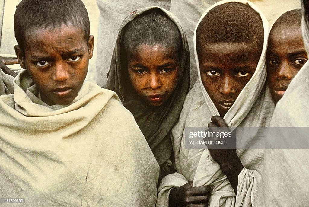 Photo dated 01 February 1985 shows Tigrean refugee children in the Wad Cheife refugee camp on the Ethiopian border Sheltering more than 62000...