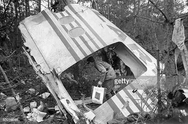 A photo dated 03 March 1974 of the debris leftover from the DC10 Turkish Airlines airplane crash in the Ermenonville Forest near Paris Threehundred...