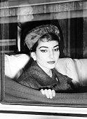 A photo dated 09 January 1958 of opera diva Maria Callas aboard a train in Rome