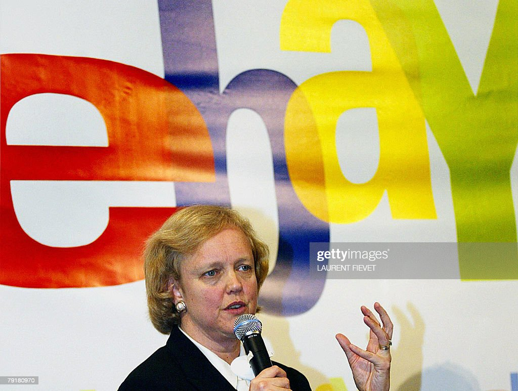 Photo dated 13 April 2004 shows Meg Whitman, president and CEO of eBay, at a press conference in Hong Kong. Online auction website eBay said 23 January 2008 Whitman will step down in March, handing the company's reins to its marketplace unit head John Donahoe. Confirmation of Whitman's departure came as eBay announced its profit in the last three months of 2007 soared 53 percent to 530.9 million dollars, or 39 cents per share, from the same quarter the previous year. AFP PHOTO/FILES/Laurent FIEVET