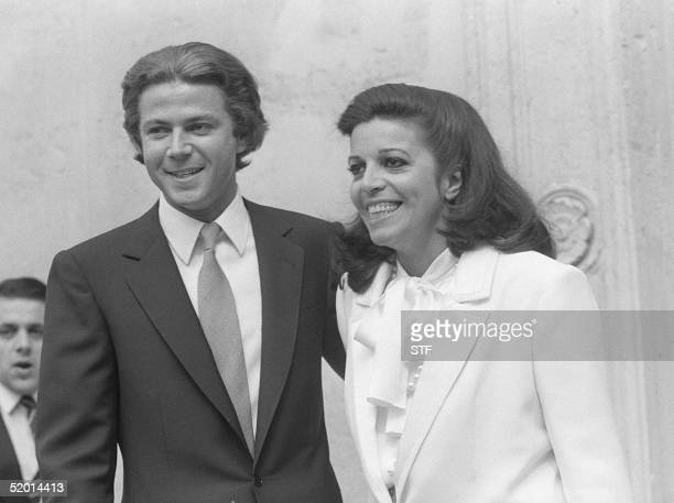 photo dated 17 March 84 of wedding of Christiana Onassis with Thierry Roussel at Paris