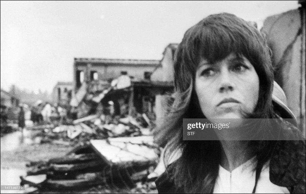A photo dated 25 July 1972 of US actress Jane Fonda visiting Hanoi