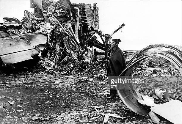 A photo dated 28 March 1977 showing the aftermath of the two Boeing 747 Jumbo Jets that collided at the Santa Cruz de Tenerife airport Canary Islands...