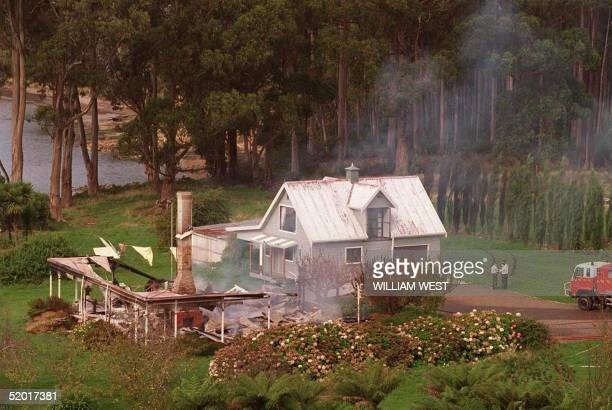 Photo dated 29 April 1996 showing the remains of the guesthouse in Hobart from which a gunman identified as Martin Bryant killed 34 people and...