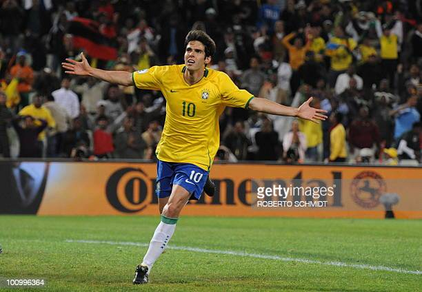 Photo dated June 15 2009 at the Free State Stadium in Bloemfontein shows midfielder Kaka celebrating after scoring the fourth goal a penalty against...