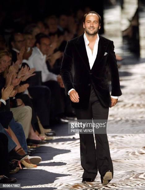 Photo du styliste vedette du groupe Gucci Tom Ford prise le 12 octobre 2003 à Paris lors de la présentation de sa collection prêtàporter printempsété...