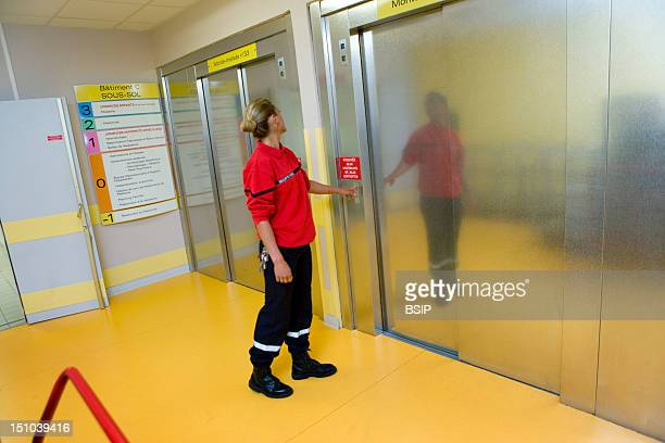Photo Essay At The Hospital Of Meaux 77 France Fire Safety Agent Monitoring Of The Elevators