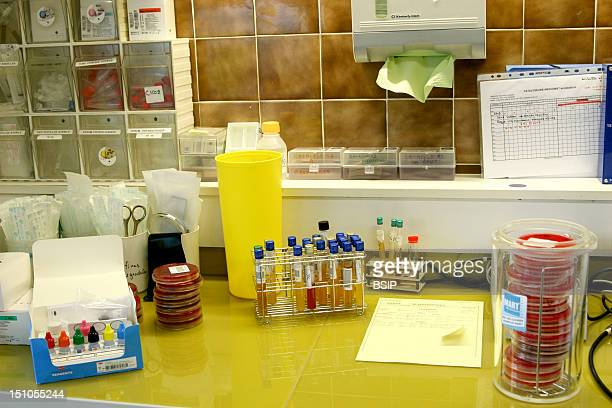 Photo Essay From Hospital Rambouillet Hospital Analytic Laboratory Bacteriological Sector Lab Table On The Right An Anaerobic Jar For The Culture Of...