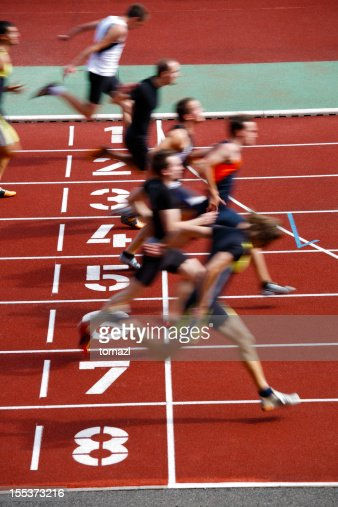 Photo finish of a track race