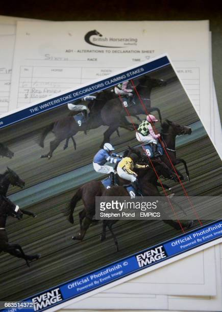A photo finish picture is displayed in the press room at Bath Racecourse