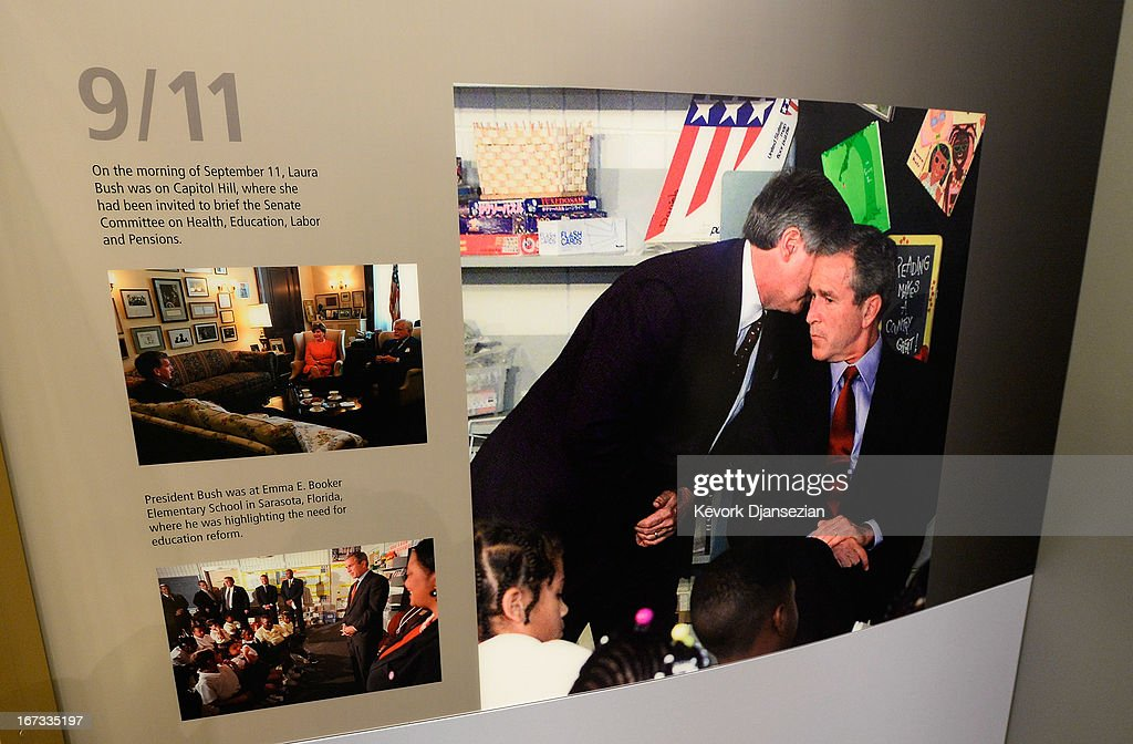 A photo from the September 11 terrorist attacks portion of the George W. Bush Presidential Center on the campus of Southern Methodist University is displayed on April 24, 2013 in Dallas, Texas. Dedication of the George W. Bush Presidential Library is to take place on April 25 with all five living U.S. Presidents in attendance and an expected 8,000 invitation-only guests.