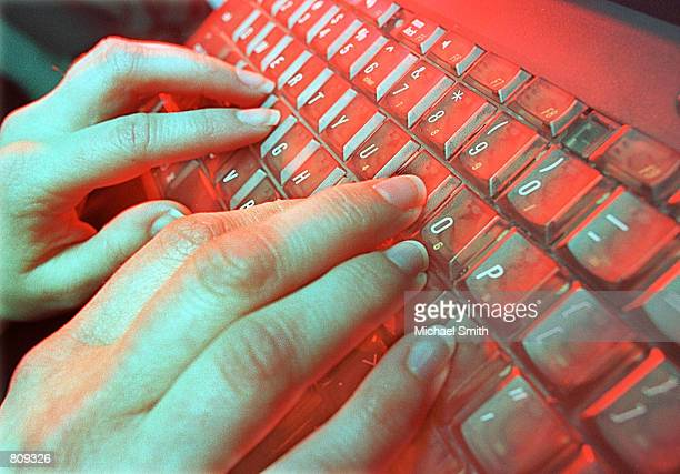 A photo illustration depicts a person typing May 4 2001 in Denver CO National Academy of Sciences estimates that musculoskeletal disorders such as...
