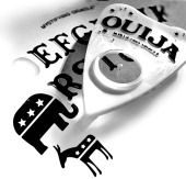 photo illustration of Ouija board planchette point to elephant donkey symbols of the US Republican and Democratic parties