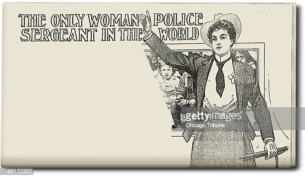 photo illustration of police officer Marie Owens that ran in the Chicago Daily Tribune on Aug 7 1904 Owens may have been the first female police...