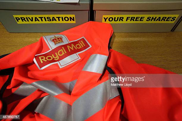 A photo illustration of privatisation and shares comments boxes at the Royal Mail's Swan Valley mail centre on December 18 2013 in Northampton...