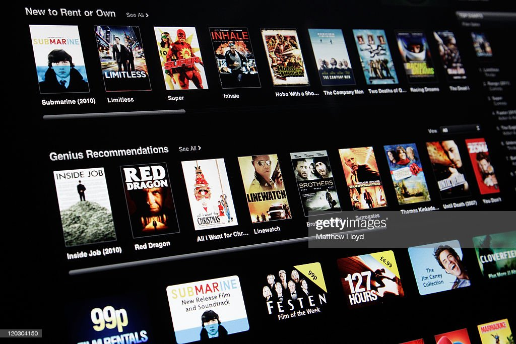A photo illustration of the legal download service iTunes and its film section on August 3, 2011 in London, England. Plans to update copyright law to allow users to copy personal collections from cd and dvd to ipods and computers have been announced, but the film and music industry is facing a huge problem with illegal downloads and peer to peer (p2p) file sharing of releases, made even easier with the latest fast broadband conections. The top five film hits of 2010 were illegally downloaded 1.4m times, with films appearing online within days of their release in cinemas.