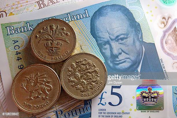 A photo illustration of the new British five pound note featuring a portrait of Sir Winston Churchill on September 27 2016 in London England The...
