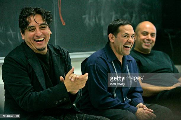 Photo l–r are Richard Montoya Ricardo Salinas and Herbert Siguenza seated inside classroom Story about the Chicano political theater/comedy troupe...