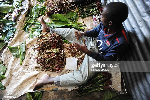Photo made July 23 2013 shows Kenyan workers packing khat for export in a market in Nairobi Khat called miraa in Kenya a multimillion dollar export...