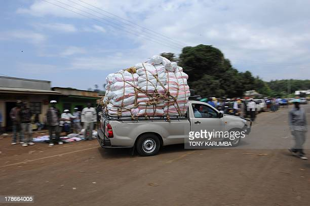 Photo made July 29 2013 shows khat meant for export on the back of a van for transport to Nairobi fresh from the farm in Kenya's misty central...