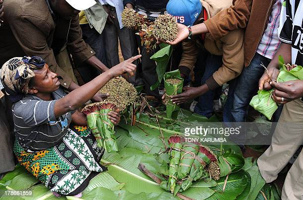 Photo made July 29 2013 shows traders selling khat at a local market in Kenya's misty central highlands region of Meru Khat called miraa in Kenya a...