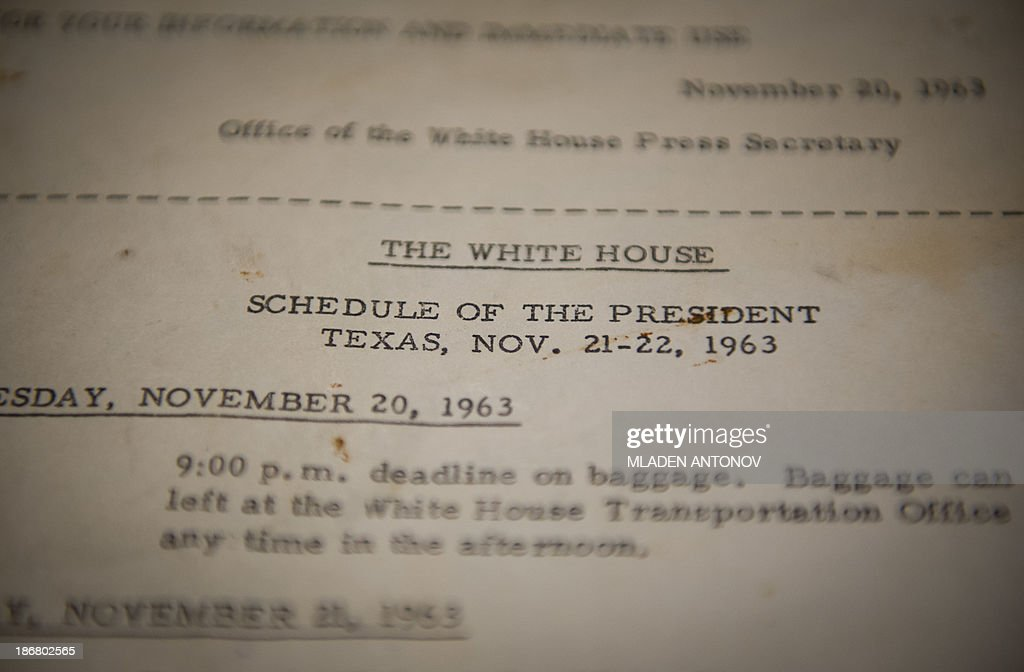 A photo made November 4, 2013 in Washington, DC shows the official schedule of former US President John F. Kennedy, distributed by the White House Office prior to his trip to Dallas, Texas between November 20-22, 1963 during which he was assassinated. November 22, 2013 marks the 50th anniversary of the assassination of US President John F. Kennedy in Dallas, Texas.