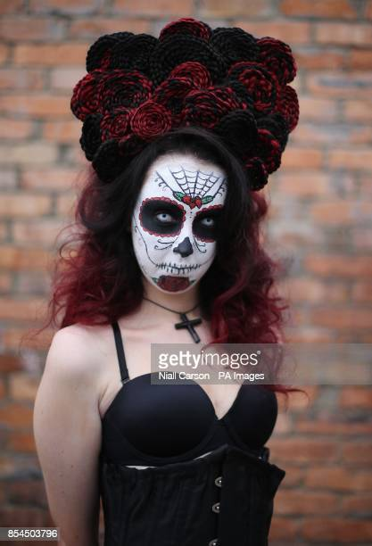 Photo Model Emma Fogerty wears a creation called Sugar Skull Princess by stylist Eilish Mulcahey at the Irish Hairdresser Federation National...