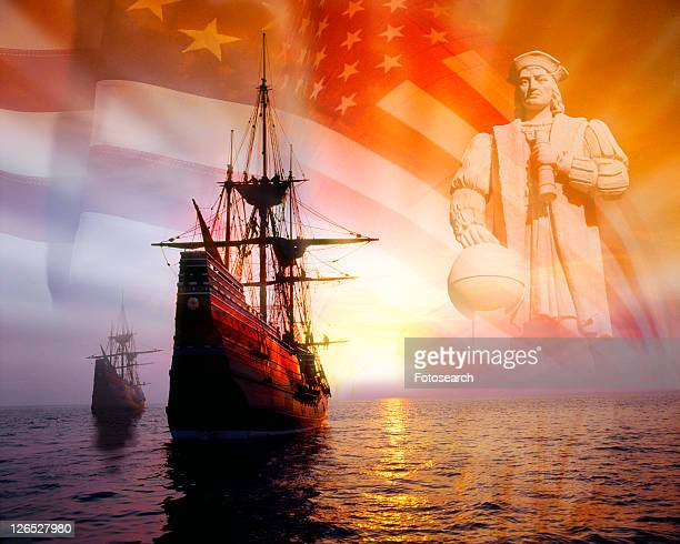 Photo montage: Christopher Columbus, American flag, sailing ships