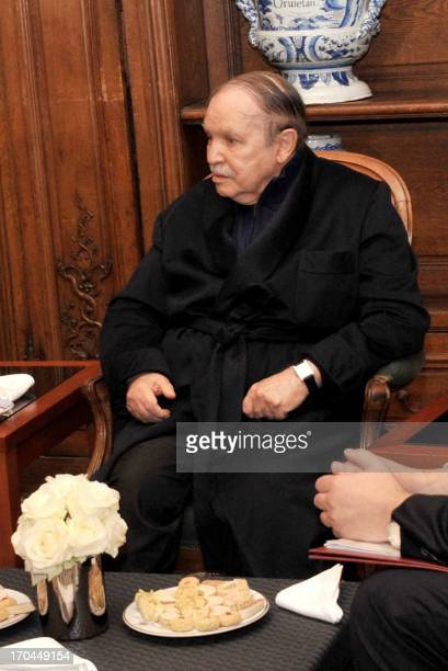 A photo obtained on June 12 2013 from Algerian Press Service news agency shows Algeria's President Abdelaziz Bouteflika sitting during a meeting with...
