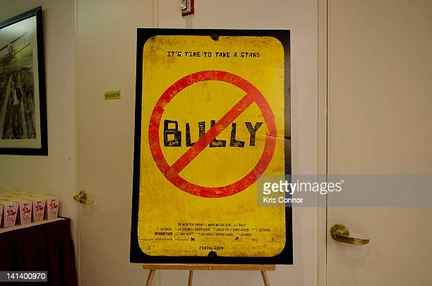 A photo of a billboard of the documentary 'Bully' at MPAA on March 15 2012 in Washington DC