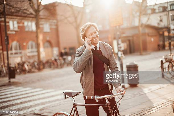 Photo of a businessman talking on mobile phone