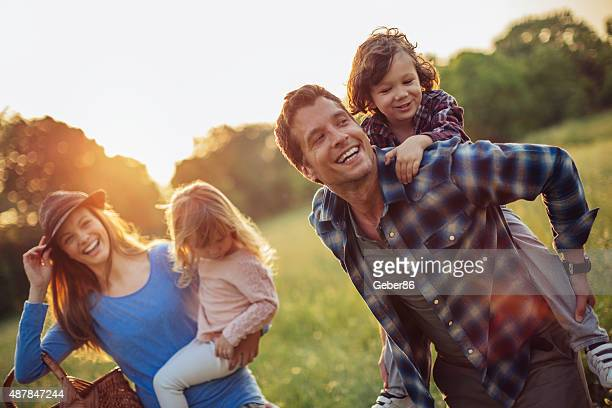 Photo of a happy family going for picnic
