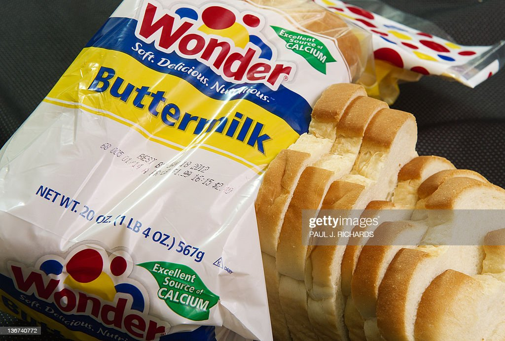 A photo of a loaf of Wonder Bread , made by Interstate Brands is viewed in on January 11, 2012 in Washington,DC. Hostess Brands, the baker of Twinkie cakes and other iconic American foods, filed for bankruptcy protection Wednesday after failing to win concessions on union contracts. Founded in 1930, Hostess owns brands that were emblematic of American food for generations. Its popular Twinkie, a snack cake with a creamy filling, was launched that year. The company claims its Wonder bread, a vitamin-enriched sliced bread, was the first 100 percent natural bread available across the United States. AFP Photo/Paul J. Richards