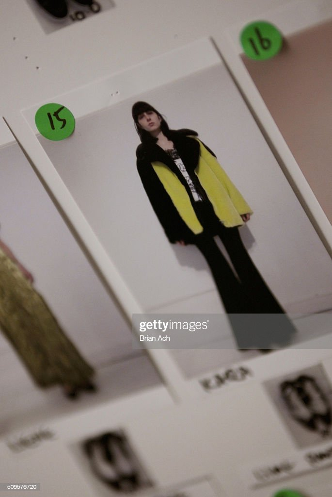 A photo of a look on a model displayed backstage at the Kye Fall 2016 fashion show during New York Fashion Week: The Shows at The Gallery, Skylight at Clarkson Square on February 11, 2016 in New York City.