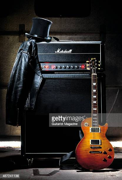 Photo of a Marshall AFD100 Slash Signature amplifier head unit and speaker cabinet with an Edwards electric guitar taken on November 12 2010