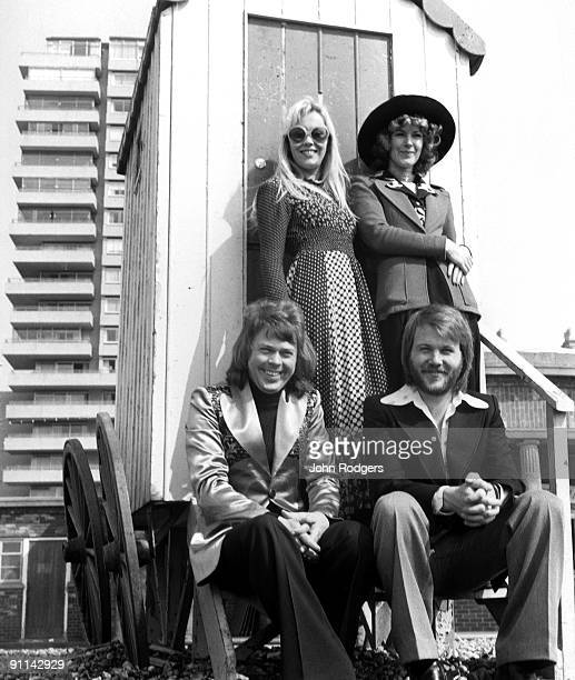 Photo of ABBA and EUROVISION SONG CONTEST LR Agnetha Faltskog AnniFrid Lyngstad Bjorn Ulvaeus Benny Andersson posed group shot on beach after winning...