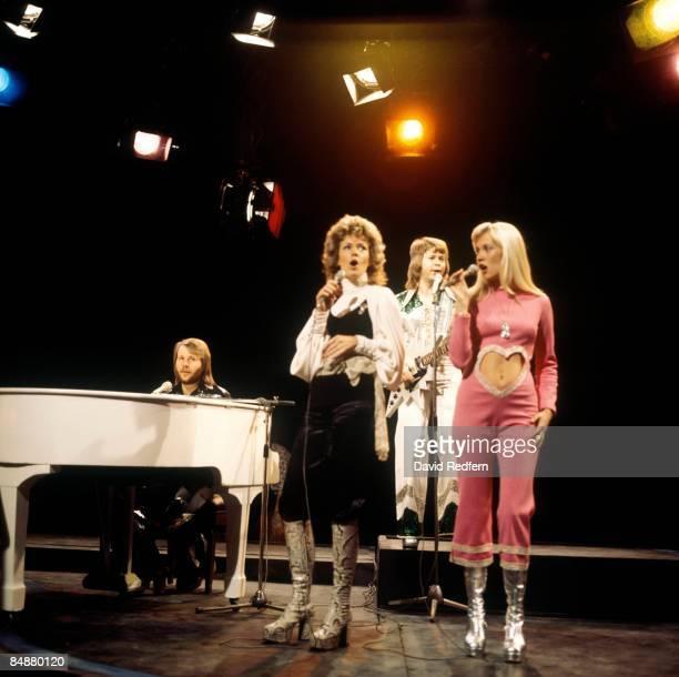 Benny Andersson AnniFrid Lyngstad Bjorn Ulvaeus Agnetha Faltskog performing 'Waterloo' on Top Of The Pops TV Show