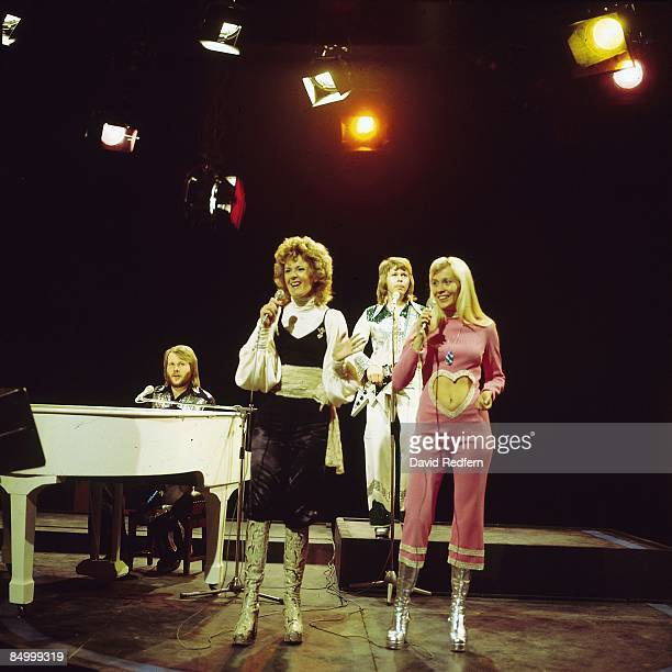 Benny Andersson AnniFrid Lyngstad Bjorn Ulvaeus Agnetha Faltskog performing 'Waterloo' on Top Of The Pops TV Show