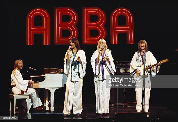Photo of Abba October 19 California Los Angeles Filmed for Midnight Special TV show AbbaLR Benny Andersson AnniFrid LyngstadAgnetha Faltskog Bjorn...