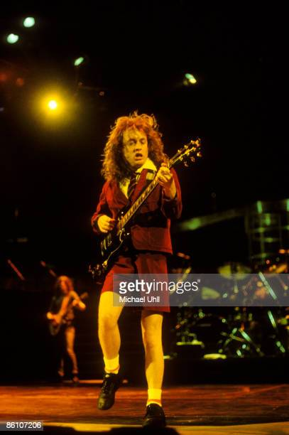 Photo of AC DC and AC/DC Angus Young of AC/DC performing at Brendan Byrne Arena in East Rutherford New Jersey on May 20 1988