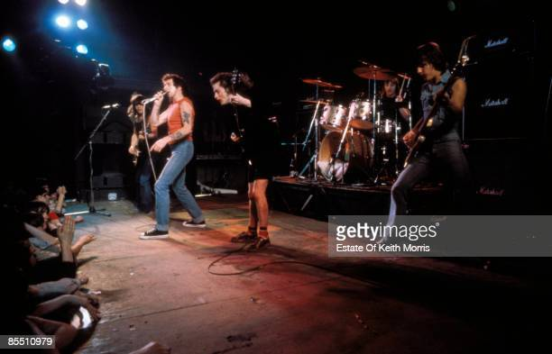 Photo of AC DC and AC/DC LR Malcolm Young Bon Scott Angus Young Phil Rudd Mark Evans performing live onstage at Kursuaal Ballroom