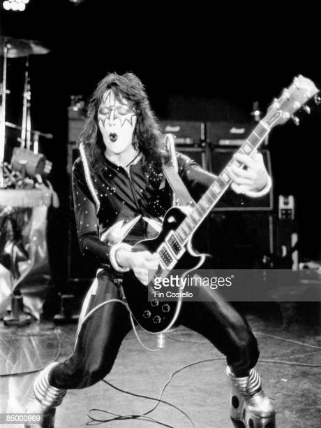 HALL Photo of Ace FREHLEY and KISS Ace Frehley performing live onstage during cover session for Alive album playing Gibson Les Paul Custom