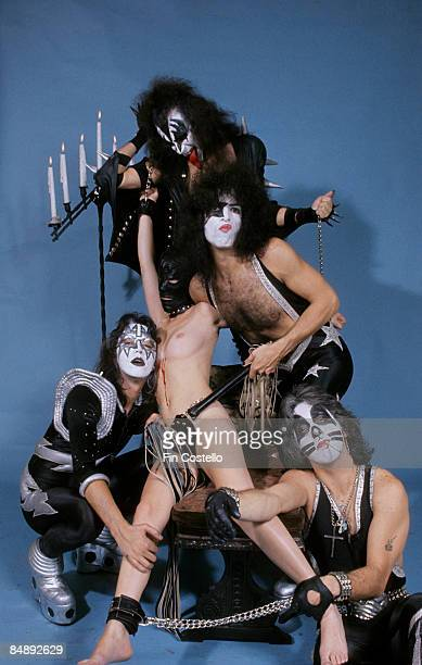 Photo of Ace FREHLEY and KISS and Peter CRISS and Gene SIMMONS and Paul STANLEY LR Ace Frehley model Gene Simmons Paul Stanley Peter Criss posed...