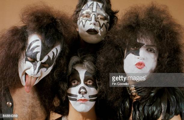 Photo of Ace FREHLEY and Peter CRISS and Paul STANLEY and KISS and Gene SIMMONS LR Gene Simmons Peter Criss Ace Frehley Paul Stanley posed studio...
