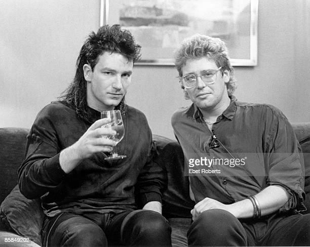 Photo of Adam CLAYTON and BONO and U2 Bono Adam Clayton posed